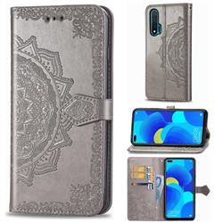 Embossing Imprint Mandala Flower Leather Wallet Case for Huawei nova 6 - Gray