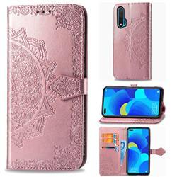 Embossing Imprint Mandala Flower Leather Wallet Case for Huawei nova 6 - Rose Gold