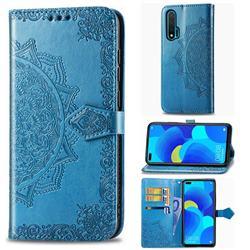 Embossing Imprint Mandala Flower Leather Wallet Case for Huawei nova 6 - Blue