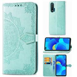 Embossing Imprint Mandala Flower Leather Wallet Case for Huawei nova 6 - Green