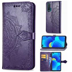 Embossing Imprint Mandala Flower Leather Wallet Case for Huawei nova 6 - Purple