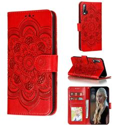 Intricate Embossing Datura Solar Leather Wallet Case for Huawei nova 6 - Red