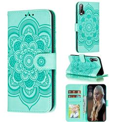 Intricate Embossing Datura Solar Leather Wallet Case for Huawei nova 6 - Green