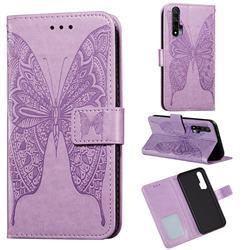Intricate Embossing Vivid Butterfly Leather Wallet Case for Huawei nova 6 - Purple