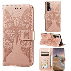 Intricate Embossing Rose Flower Butterfly Leather Wallet Case for Huawei nova 6 - Rose Gold