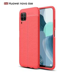 Luxury Auto Focus Litchi Texture Silicone TPU Back Cover for Huawei nova 6 SE - Red