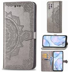 Embossing Imprint Mandala Flower Leather Wallet Case for Huawei nova 6 SE - Gray