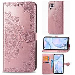 Embossing Imprint Mandala Flower Leather Wallet Case for Huawei nova 6 SE - Rose Gold
