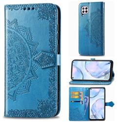 Embossing Imprint Mandala Flower Leather Wallet Case for Huawei nova 6 SE - Blue