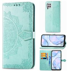 Embossing Imprint Mandala Flower Leather Wallet Case for Huawei nova 6 SE - Green