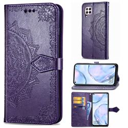 Embossing Imprint Mandala Flower Leather Wallet Case for Huawei nova 6 SE - Purple