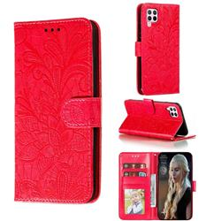 Intricate Embossing Lace Jasmine Flower Leather Wallet Case for Huawei nova 6 SE - Red
