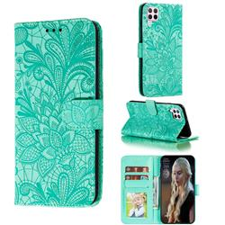 Intricate Embossing Lace Jasmine Flower Leather Wallet Case for Huawei nova 6 SE - Green