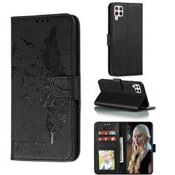 Intricate Embossing Lychee Feather Bird Leather Wallet Case for Huawei nova 6 SE - Black