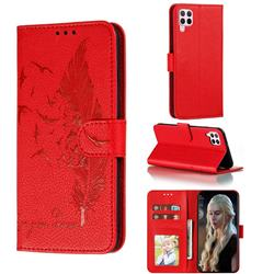 Intricate Embossing Lychee Feather Bird Leather Wallet Case for Huawei nova 6 SE - Red