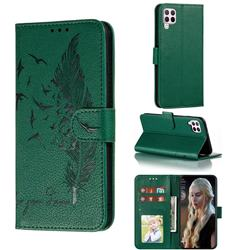 Intricate Embossing Lychee Feather Bird Leather Wallet Case for Huawei nova 6 SE - Green