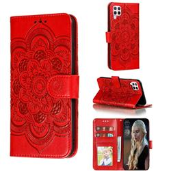 Intricate Embossing Datura Solar Leather Wallet Case for Huawei nova 6 SE - Red