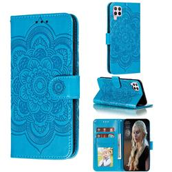 Intricate Embossing Datura Solar Leather Wallet Case for Huawei nova 6 SE - Blue
