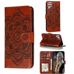 Intricate Embossing Datura Solar Leather Wallet Case for Huawei nova 6 SE - Brown
