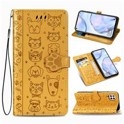 Embossing Dog Paw Kitten and Puppy Leather Wallet Case for Huawei nova 6 SE - Yellow