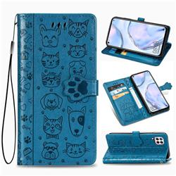 Embossing Dog Paw Kitten and Puppy Leather Wallet Case for Huawei nova 6 SE - Blue