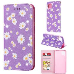 Ultra Slim Daisy Sparkle Glitter Powder Magnetic Leather Wallet Case for Huawei nova 6 SE - Purple