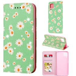 Ultra Slim Daisy Sparkle Glitter Powder Magnetic Leather Wallet Case for Huawei nova 6 SE - Green