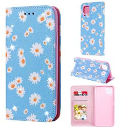 Ultra Slim Daisy Sparkle Glitter Powder Magnetic Leather Wallet Case for Huawei nova 6 SE - Blue