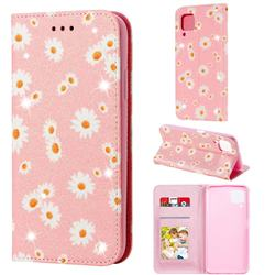 Ultra Slim Daisy Sparkle Glitter Powder Magnetic Leather Wallet Case for Huawei nova 6 SE - Pink