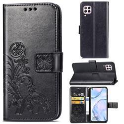 Embossing Imprint Four-Leaf Clover Leather Wallet Case for Huawei nova 6 SE - Black