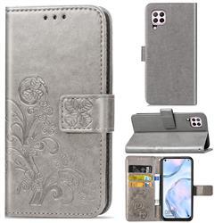 Embossing Imprint Four-Leaf Clover Leather Wallet Case for Huawei nova 6 SE - Grey