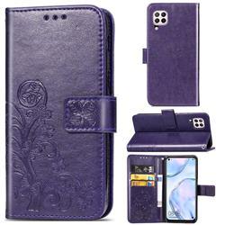Embossing Imprint Four-Leaf Clover Leather Wallet Case for Huawei nova 6 SE - Purple