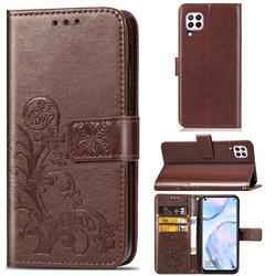 Embossing Imprint Four-Leaf Clover Leather Wallet Case for Huawei nova 6 SE - Brown
