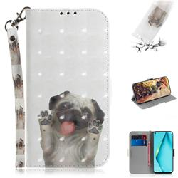Pug Dog 3D Painted Leather Wallet Phone Case for Huawei nova 6 SE