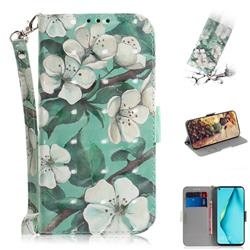 Watercolor Flower 3D Painted Leather Wallet Phone Case for Huawei nova 6 SE