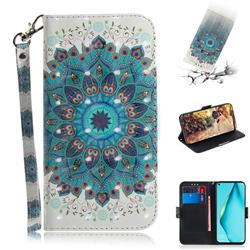 Peacock Mandala 3D Painted Leather Wallet Phone Case for Huawei nova 6 SE