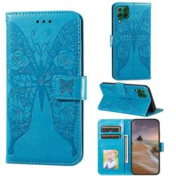 Intricate Embossing Rose Flower Butterfly Leather Wallet Case for Huawei nova 6 SE - Blue