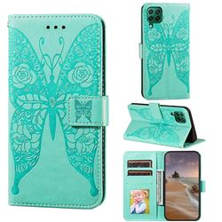 Intricate Embossing Rose Flower Butterfly Leather Wallet Case for Huawei nova 6 SE - Green