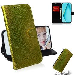 Laser Circle Shining Leather Wallet Phone Case for Huawei nova 6 SE - Golden