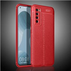 Luxury Auto Focus Litchi Texture Silicone TPU Back Cover for Huawei nova 7 5G - Red