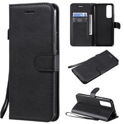 Retro Greek Classic Smooth PU Leather Wallet Phone Case for Huawei nova 7 5G - Black