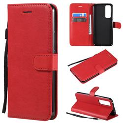 Retro Greek Classic Smooth PU Leather Wallet Phone Case for Huawei nova 7 5G - Red