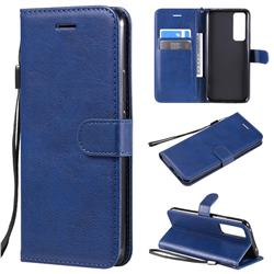Retro Greek Classic Smooth PU Leather Wallet Phone Case for Huawei nova 7 5G - Blue