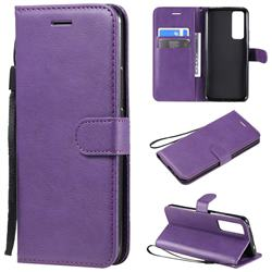 Retro Greek Classic Smooth PU Leather Wallet Phone Case for Huawei nova 7 5G - Purple