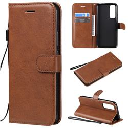 Retro Greek Classic Smooth PU Leather Wallet Phone Case for Huawei nova 7 5G - Brown