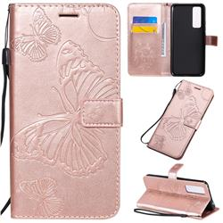 Embossing 3D Butterfly Leather Wallet Case for Huawei nova 7 5G - Rose Gold
