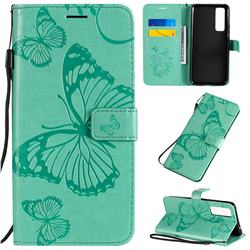 Embossing 3D Butterfly Leather Wallet Case for Huawei nova 7 5G - Green