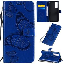 Embossing 3D Butterfly Leather Wallet Case for Huawei nova 7 5G - Blue