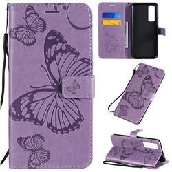 Embossing 3D Butterfly Leather Wallet Case for Huawei nova 7 5G - Purple