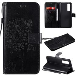Embossing Butterfly Tree Leather Wallet Case for Huawei nova 7 5G - Black